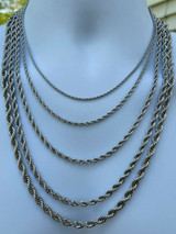 """Men's Real Solid Rope Chain Necklace Stainless Steel - Rhodium - 2mm-6mm 18-30"""""""