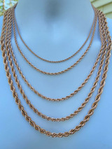 """Men's Real Rope Chain Necklace 14k Rose Gold Over Stainless Steel 2mm-6mm 18-30"""""""