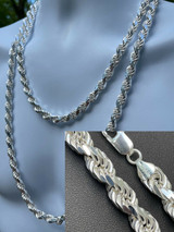 """Heavy 8mm Men's Rope Chain Real Solid 925 Sterling Silver Necklace 18""""-30"""" ITALY"""