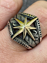Real 925 Sterling Silver & 10k Gold Mens Nautical Compass Star Ring Sizes 7-13