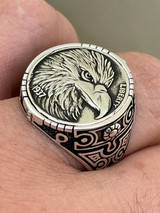 Real 925 Sterling Silver Mens Coin Ring USA Eagle American Liberty Dollar 7-13