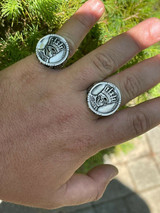 Real 925 Sterling Silver Mens Coin Ring Skull W. Crown Death King Skeleton 7-13