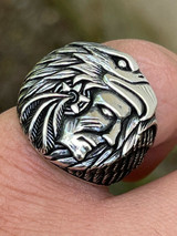 Real 925 Sterling Silver Mens Indian Chief In Eagle Headdress Native American