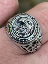 Real 925 Sterling Silver Mens Plain American Bald Eagle Ring Size 7 8 9 10 11 12