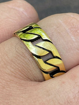 Mens Real Solid 925 Sterling Silver 14k Gold Vermeil  Ring Miami Cuban Link Band