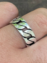 Men's Real Solid 925 Sterling Silver Ring Miami Cuban Link Men Wedding Band 8-13