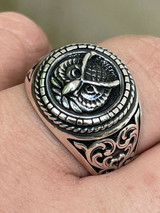 Real 925 Sterling Silver Mens Plain Owl Ring - Symbol Of Wisdom Animal Size 7-13