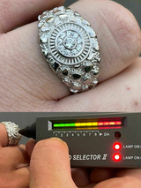Mens REAL Solid 925 Sterling Silver Nugget Ring - MOISSANITE Pass Diamond Tester