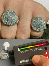 Mens Big Solid 925 Silver Hip Hop RING Iced Real Moissanite Pass Diamond Tester