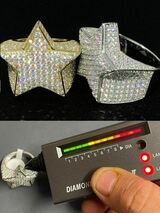 Men's Hip Hop Solid 925 Silver Iced Pinky Star Ring MOISSANITE Pass Diamond Test