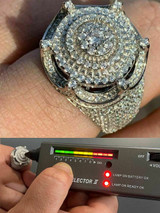 Men's Large Solid 925 Silver King Crown Moissanite Pinky RING HIP-HOP Bust Down