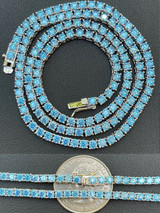 """Tennis Chain Real 925 Sterling Silver Aquamarine Blue Diamond Necklace 16-24"""""""