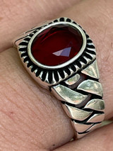 Mens Plain Real 925 Sterling Silver Ruby Red Stone Ring W. Miami Cuban Link Band
