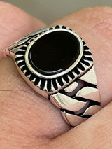 Mens Plain Real 925 Sterling Silver Black Onyx Stone Ring Miami Cuban Link Band
