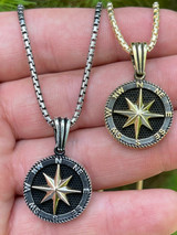 Mens Real Solid 925 Silver & 14k Gold Navigation Star Compass Pendant Necklace