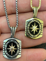 Real 925 Silver & 14k Gold Navigation Nautical Star Compass Pendant Necklace