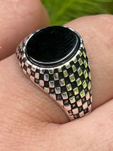 Mens Plain Real 925 Sterling Silver Black Onyx Stone Ring Pinky 7 8 9 10 11 12