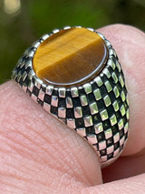 Mens Plain Real 925 Sterling Silver Tiger Eye Stone Ring Pinky 7 8 9 10 11 12 13