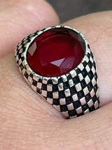 Mens Plain Real 925 Sterling Silver Ruby Red Stone Ring Pinky Or Signet Sz 7-13