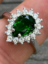 Solid 925 Sterling Silver Pear Green Emerald & Diamond Promise Cocktail Ring