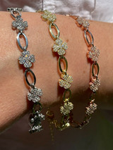 Real 925 Sterling Silver / Yellow Rose Gold Iced Diamond Clover Charm Bracelet