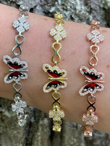Real 925 Silver / Yellow Rose Butterfly & Four Leaf Clover Infinity Bracelet
