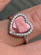 Real 925 Silver Heart Shaped Cocktail Promise Ring Pink Mother Of Pearl Diamonds