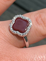 Real Solid 925 Sterling Silver Flower Clover Ring Red Agate W. Diamonds Sz 5-10