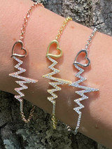 Real 925 Silver / Yellow Rose Gold Beating Heartbeat Pulse Heart Ladies Bracelet