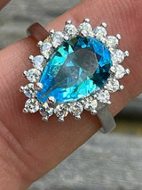 Solid 925 Sterling Silver Pear Shaped Blue Aquamarine & Diamond Cocktail Ring