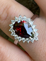 Solid 925 Sterling Silver Pear Shaped Red Ruby & Diamond Promise Cocktail Ring