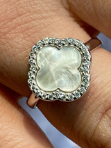 Real Solid 925 Sterling Silver Flower Clover Ring White Mother Of Pearl Diamonds