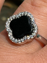 Real Solid 925 Sterling Silver Flower Clover Ring Black Onyx W. Diamonds Sz 5-10