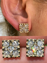 14K Gold & Real 925 Silver Iced Large Out CZ HipHop Earrings Square Nugget Studs