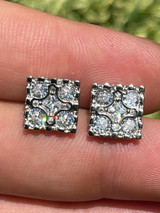 Real 925 Silver Iced Large Out CZ Hip Hop Men's Earrings Square Nugget Big Studs