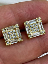 14K Gold & Real 925 Silver Square Iced Baguette Diamond Hip Hop Earrings Studs