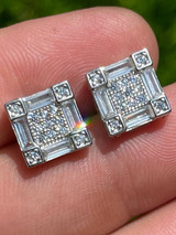 Mens Real 925 Sterling Silver Square Iced Baguette Diamond HipHop Earrings Studs