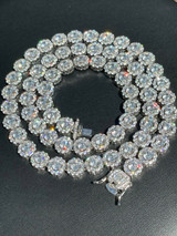 Men's Ladies 10mm Tennis Chain Real Solid 925 Silver Iced Flooded Out Diamond