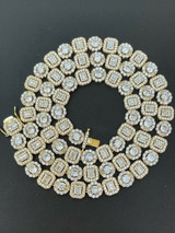 Men's Baguette Tennis Chain 14k Gold & Solid 925 Silver Iced Fully Out Diamond