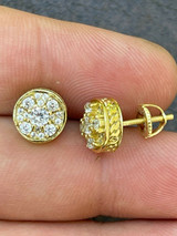 14k Gold Vermeil Real 925 Silver Iced Diamond Cluster Out Hip Hop Earrings Studs
