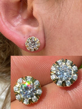 14k Gold & 925 Silver Iced CZ Out Hip Hop Earrings Studs Large 10mm Mens Ladies