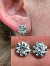 Real Solid 925 Silver Iced CZ Out Hip Hop Earrings Studs Large 10mm Mens Ladies