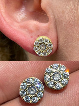 """14k Gold & 925 Silver Iced CZ Out Hip Hop Mens Earrings 1/3"""" Cluster Round Studs"""