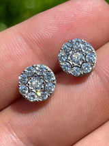 """Real Solid 925 Silver Iced CZ Out Hip Hop Mens Earrings 1/3"""" Cluster Round Studs"""