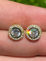 14k Gold Vermeil 925 Silver Iced Solitaire Diamond Hip Hop Earrings Studs Large