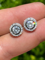 Real Solid 925 Silver Iced Solitaire Diamond Hip Hop Earrings Studs Large 10mm