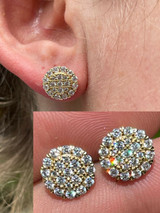Real 14k Gold Vermeil 925 Silver Iced CZ Out Mens Ladies Hip Hop Earrings Large
