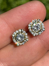 Real 14k Gold Vermeil 925 Iced CZ Out HipHop Earrings Studs Mens Ladies $99 MSRP