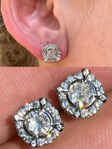 Real 925 Sterling Silver Iced CZ Out Hip Hop Earrings Studs Mens Ladies $99 MSRP