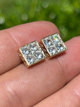 14k Gold Vermeil Real 925 Silver Iced Square Cube Diamond Hip Hop Earrings Large
